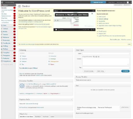 Mempelajari menu yang terdapat pada halaman depan (dasbor) wordpress ...