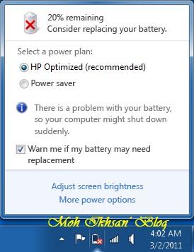 Menghilangkan Pesan Consider Replacing Your Battery Di Windows 7
